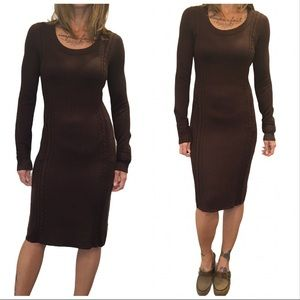Athleta Brown Cable Knit Sweater Dress Size Small